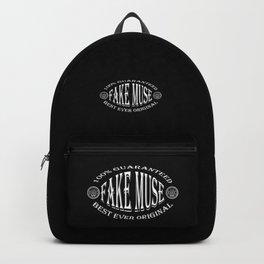 Fake Muse badge (white on black) Backpack