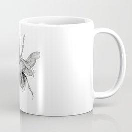 Dotwork Flying Beetle Illustration Coffee Mug