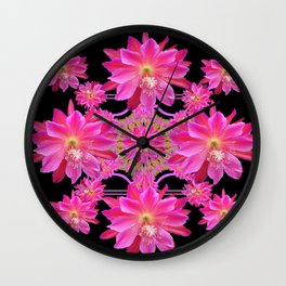 Ebony Black Abstract Fuchsia Pink Orchid Cactus Flowers Wall Clock