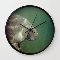 manatee Wall Clocks featuring Manatee by Twilight Wolf