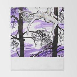 Falling through purple skies Throw Blanket