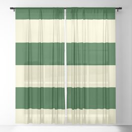 Dark Emerald Green and Cream Large Stripes Sheer Curtain