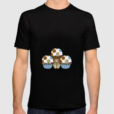 Cute Monster With Blue And Brown Polkadot Cupcakes MEDIUM Mens Fitted Tee Black