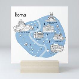 Mapping Roma - Blue Mini Art Print