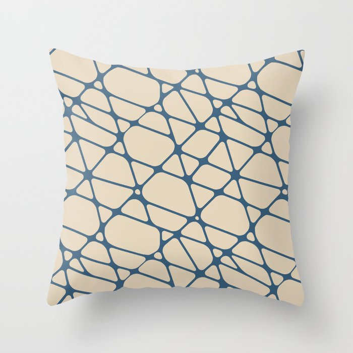 Blue & Beige Abstract Mosaic Pattern 2 Pairs To 2020 Color of the Year Chinese Porcelain PPG1160-6 Throw Pillow
