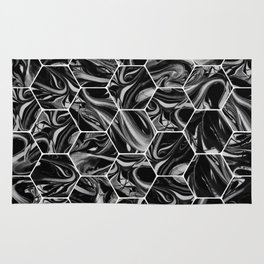 Hex & Swirl - Black and White Marble Pattern Rug