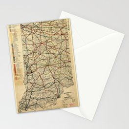 Railroad Map of Indiana (1896) Stationery Cards