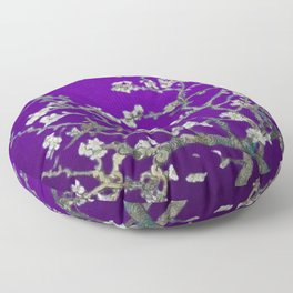 Vincent van Gogh Blossoming Almond Tree (Almond Blossoms) Amethyst Sky Floor Pillow