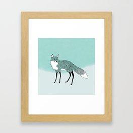 Fox in the snow – Animal Illustration – Kitsune in snow scene – vintage colors – antiqued colors Framed Art Print