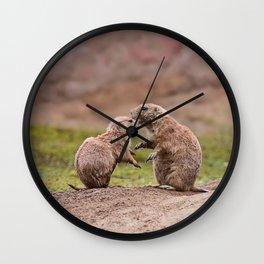 Cute little prairie dogs love Wall Clock