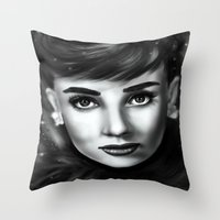 audrey Throw Pillows featuring Audrey  by Lily Fitch