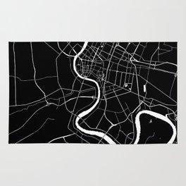 Bangkok Thailand Minimal Street Map - Midnight Black and White Rug