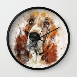 Basset Hound Watercolor Wall Clock