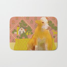 Farm Animals in Chairs #1 Cow Bath Mat