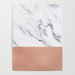 Marble Rose Gold Luxury iPhone Case and Throw Pillow Design Poster