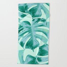 Tropical Monstera Leaves Dream #4 #tropical #decor #art #society6 Beach Towel
