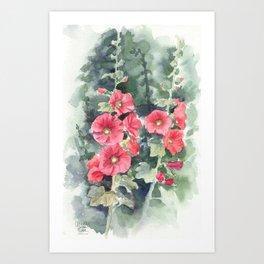 Hollihocks, watercolour Art Print