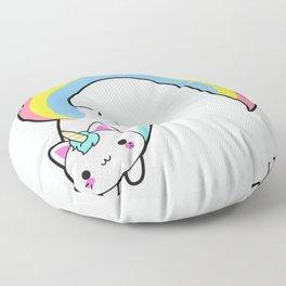 Kawaii proud rainbow cattycorn Floor Pillow