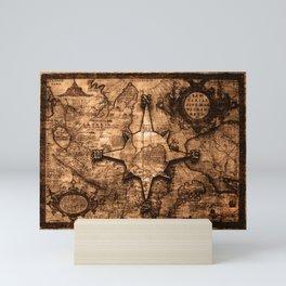 Antique World Map & Compass Rose Mini Art Print