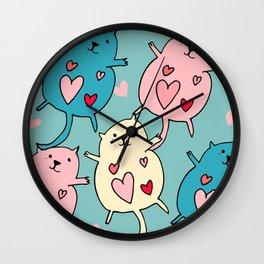 Cute Cat Heart Blue #valentine Wall Clock