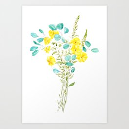 yellow flower and green eucalyptus leaf Art Print