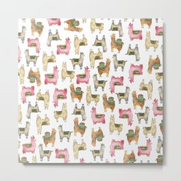 Llama love / Alpaca adventure wanderlust travel / animal baby nursery gift for her shower decor Metal Print