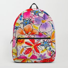 Bright Watercolour Flowers  Backpack