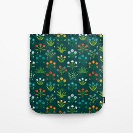 Floral green and red design Tote Bag