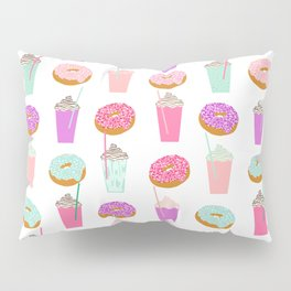 Coffee and Donuts pastel pink mint cute pattern gifts for valentines day love Pillow Sham