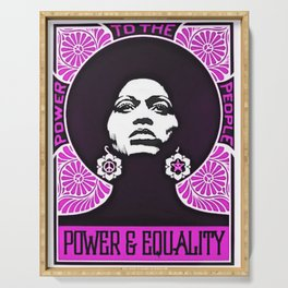 Angela Davis - Power & Equality - Power to the People Pink African American Vintage Poster Serving Tray