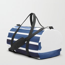 Navy Purple Blue Midcentury Modern Minimalist Staggered Stripes Rectangle Geometric Aztec Pattern Wa Duffle Bag