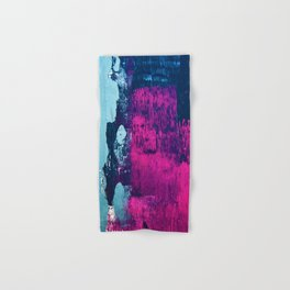 Early Bird: A vibrant minimal abstract piece in blues and pink by Alyssa Hamilton Art Hand & Bath Towel