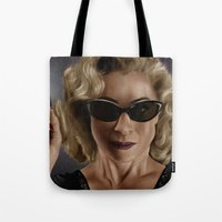 river song Tote Bags featuring River Song (Doctor Who) by San Fernandez