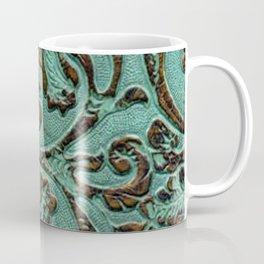 Aqua Flowers Tooled Leather Coffee Mug