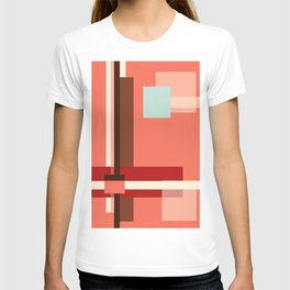 Geometric Abstract with Living Coral T-shirt