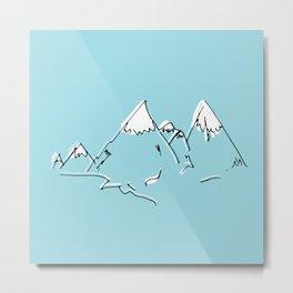 sketch blue mountains Metal Print