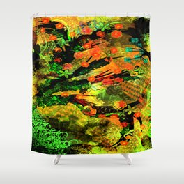 Abstract Art with flowers Shower Curtain