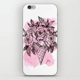 Floral Ice Cream Pink iPhone Skin