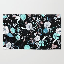 Abstract teal white black country modern floral Rug