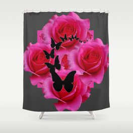 BLACK BUTTERFLIES FUCHSIA ROSES GREY ART Shower Curtain