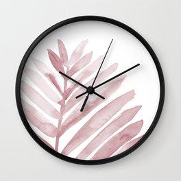 Pink Palm Leaf Wall Clock