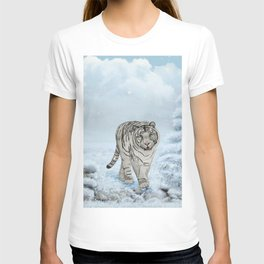 Wonderful white siberian tiger in a winter landscape T-shirt