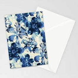 Shibori Inspired Oversized Indigo Floral Stationery Cards