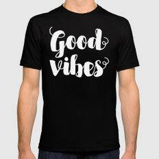 good vibes Mens Fitted Tee MEDIUM Black