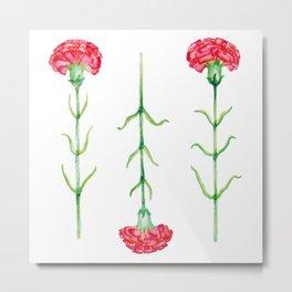 Carnations flowers watercolor art Metal Print