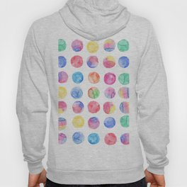Artistic hand painted pink blue green watercolor brush strokes polka dots Hoody