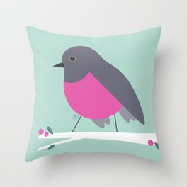 pink bird, rose robin Throw Pillow