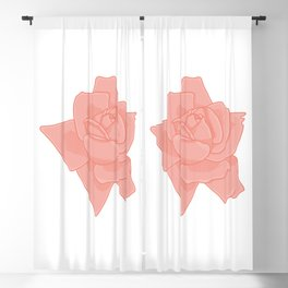 Coral Rose Illustration Blackout Curtain