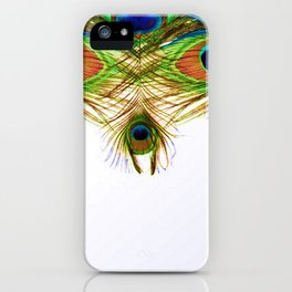 GORGEOUS BLUE-GREEN PEACOCK FEATHERS ART iPhone Case