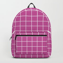 Mulberry (Crayola) - violet color -  White Lines Grid Pattern Backpack